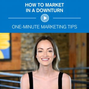 Picture of a video still-frame that links to video on marketing during a downturn.